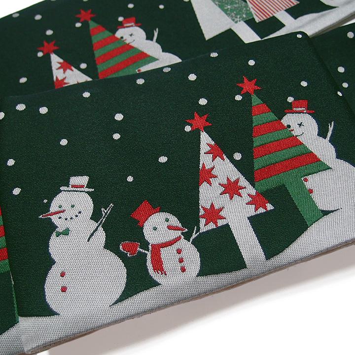 半幅帯 おりびと クリスマス リバーシブル カジュアル 雪だるま トランプ 緑 グレー 臙脂 I-37A f583 KSi