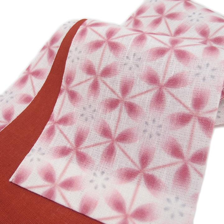 夏 半幅帯 麻 雪花 小袋帯 日本製 染帯 亀甲花菱 仕立て上がり カジュアル 浴衣 夏着物 白地 臙脂 a486