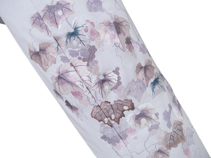 訪問着 未仕立て 正絹 豪華 手刺繍 葡萄蔓 フォーマル 結婚式 入学式 卒業式 入園式 卒園式 ブルーグレー f186