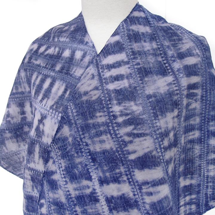 浴衣 本麻 反物 絞り 有松鳴海絞り 浸透折縫い 竜巻絞り 伝統工芸品 カジュアル 夏着物 お祭 夏のお出掛け 裄70以上 未仕立て 斜縞 藍 a191