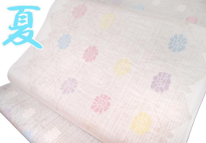 名古屋帯 夏 帯屋捨松 紗 小花 清楚 反物 未仕立て 正絹 清楚なオフホワイト 現品限り e693r