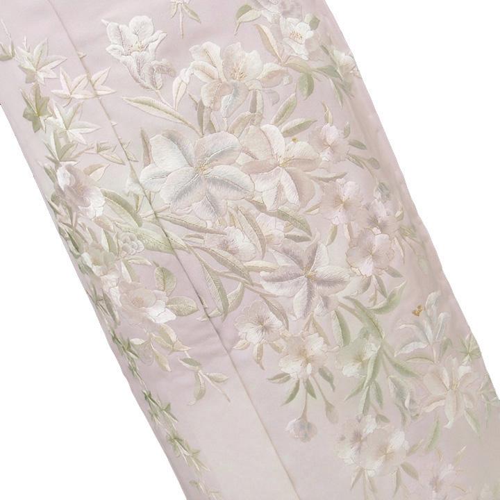 訪問着 手刺繍 正絹 豪華 フォーマル 結婚式 入学式 卒業式 入園式 卒園式 未仕立て 百合 桜 ピンク d096