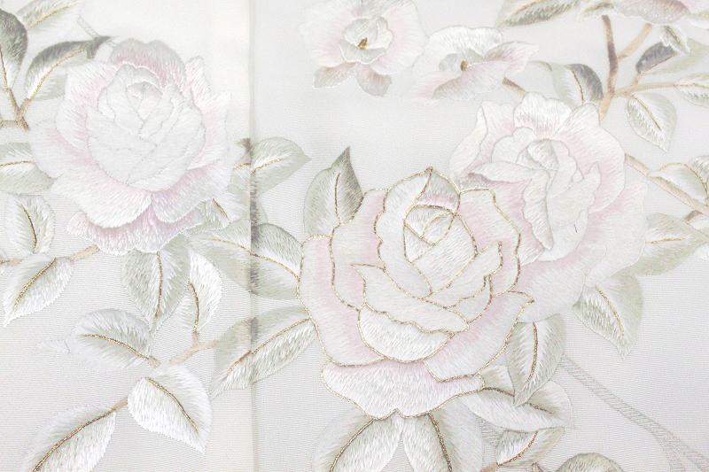 【スーパーSale 20%off】訪問着 手刺繍 正絹 豪華 フォーマル 結婚式 入学式 卒業式 入園式 卒園式 未仕立て 薔薇 白 b1067 c297