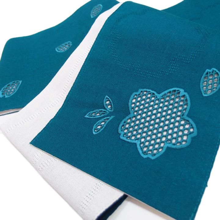 夏 半幅帯 麻 小袋帯 日本製 ドロンワーク 刺繍 桜 仕立て上がり カジュアル 浴衣 夏着物 青 c497