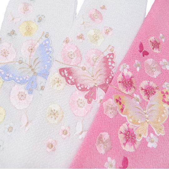 半衿 刺繍 正絹 縮緬 振袖 日本製 蝶 成人式 結婚式 フォーマル k898r