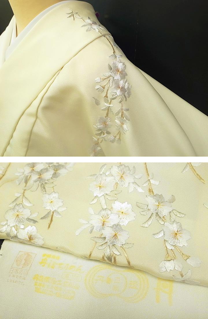 訪問着 手刺繍 正絹 豪華 桜 結婚式 フォーマル 結婚式 入学式 卒業式 入園式 卒園式 未仕立て オフホワイト クリーム色 e299