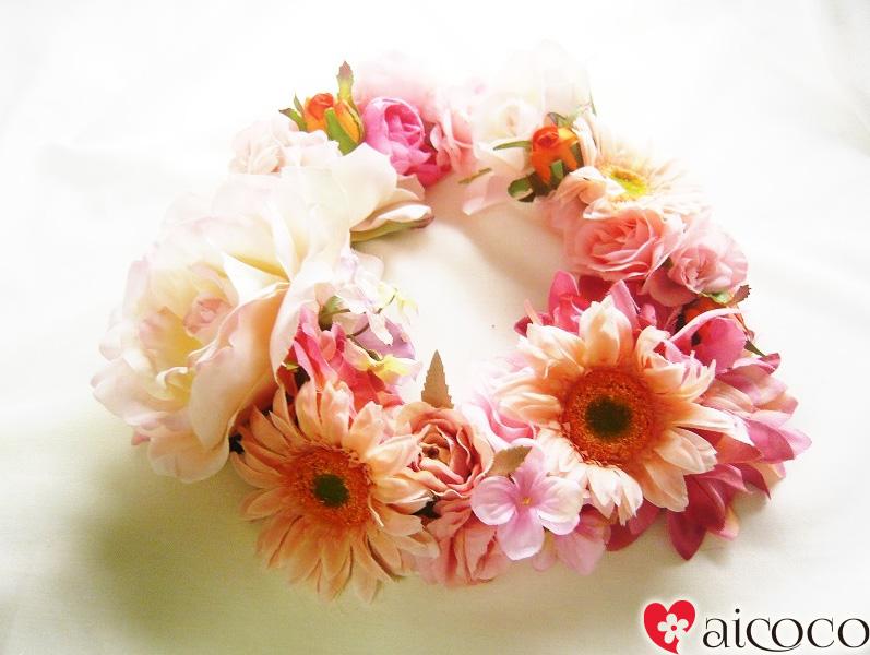 【ヘッドドレス】花冠 花かんむり ガーベラピンク ウエディング ウェディング オレンジ 赤 ブルー 結婚 式 ブレスレット グリーン ヘアアクセサリー 花  結婚式 アイテム フラワー パーティ  大人 ヘアアクセ 造花  フェス