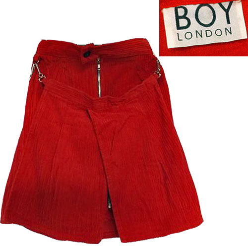 a44cddf9fffde BOY LONDON (VINTAGE) 80 s Corduroy Kilt Panel ZIP SKIRT boy London bondage  skirt Red