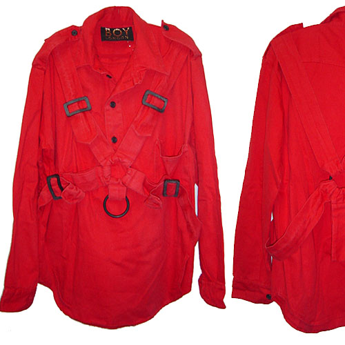BOY LONDON VINTAGE 80s Bondage PARACHUTE SHIRT RED ボーイロンドン パラシュートシャツ【中古】【ロマンチックノイローゼ 市場店】