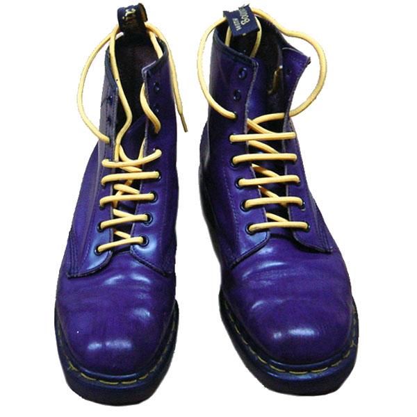 Dr.Martens 英国製 ドクターマーチン 8EYE BOOTS PURPLE 8ホール ブーツ 紫×紐イエロー【中古】【ロマンチックノイローゼ 市場店】