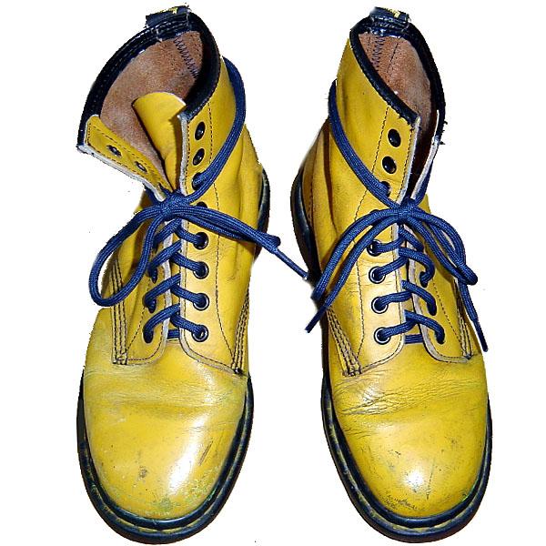 Dr.Martens 英国製 ドクターマーチン 8EYE BOOTS YELLOW 8ホール ブーツ イエロー 黄×紐ネイビー【中古】【パンク】【PUNK】【ロマンチックノイローゼ 市場店】