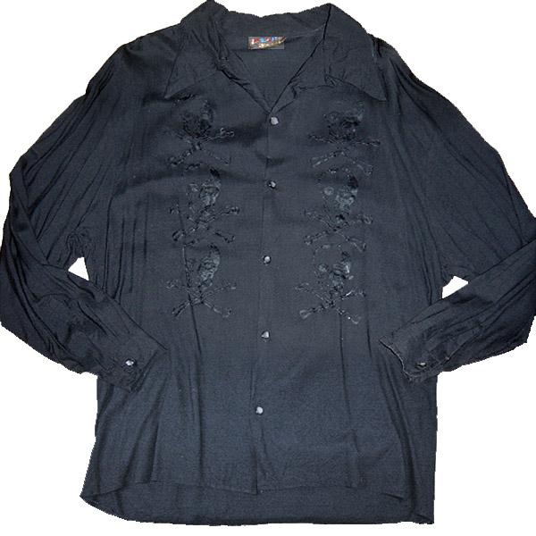 JOHNSONS LA ROCKA! VINTAGE Skull Rockabilly Shirt ラロッカ 髑髏 ロカビリー シャツ 長袖【中古】【パンク】【PUNK】【ロマンチックノイローゼ 市場店】