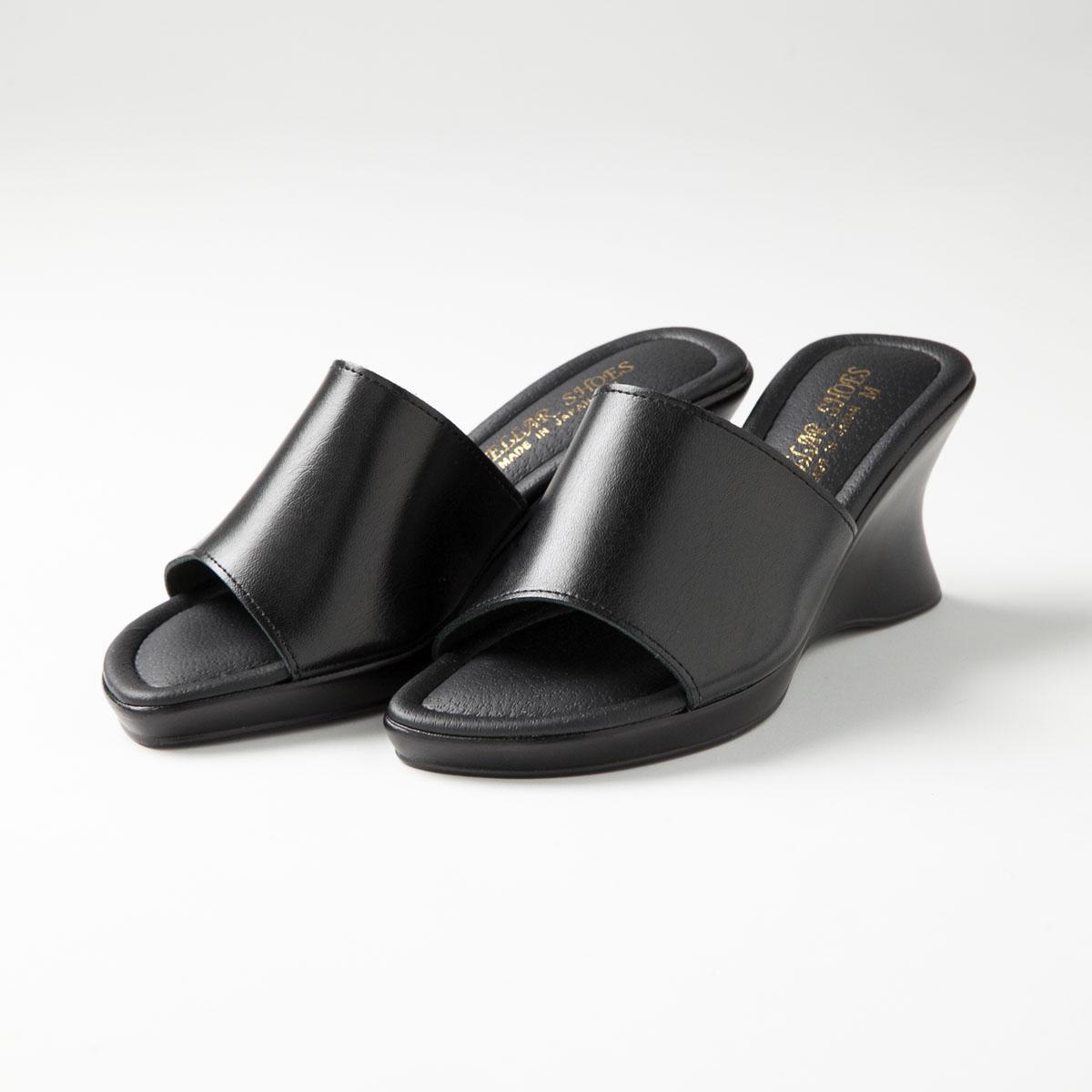 厚底のくびれウェッジソールで美脚効果 疲れにくい 日本製 厚底ウエッジミュール レディースサンダル ブラック オフィスサンダル 人気急上昇 美脚 オープントゥー 黒 ※ラッピング ※