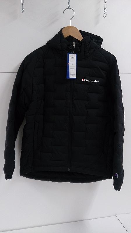【中古】Champion チャンピオン ダウンジップ フーデッドジャケット ブラック サイズS (C3-QS602-090) アウター ダウン コート ジャケット メンズ 黒