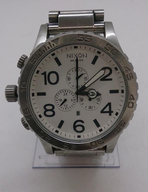 【中古】NIXON ニクソン THE51-30 CHRONO SIMPLIFY クォーツ腕時計 アナログ ステンレス ホワイト シルバー ダイバーズ メンズ