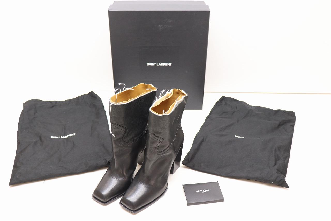SAINT LAURENT サンローラン Jodie Leather Ankle Boots レザー アンクルブーツ SIZE:37 1/2 ブラック 黒 チャンキーヒール シューズ 靴 【中古】【その他靴】【金沢本店 併売品】【7800144Kz】