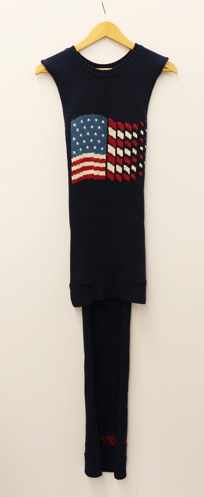 DAIRIKU ダイリク 18AW AMERICA アメリカ プルオーバーマフラー ネイビー 星条旗 刺繍 コットン メンズ 【中古】【帽子】【金沢本店 専売品】【7400323Kz】