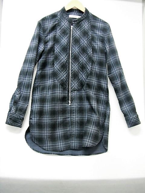 【値下げ】nonnative ノンネイティブ 15AW ノーカラーzipupチェックシャツ size:1 ジップアップ チェック 長袖 ロング丈 切替