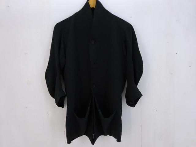 DEVOA リネンQ/Sショルカラージャケット size:1 デヴォア ブラック
