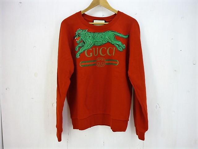 GUCCI 18AW タイガー&GUCCI ロゴ スウェットシャツ size:S グッチ レッド 刺繍 527743 JSB真贋済み