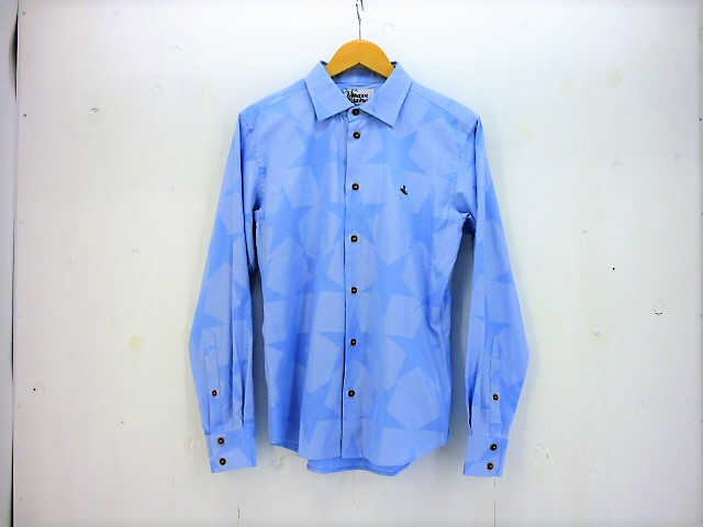 Vivienne Westwood Man スター柄L/Sシャツ size:46 ヴィヴィアンウエストウッド ブルー オーブ