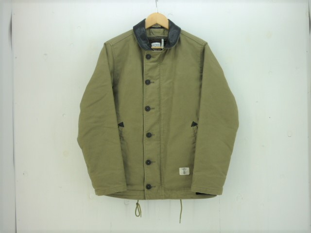 値下げしました BEDWIN ボアライナー付きデッキジャケット size:2 ベドウィン カーキ レザー切り替え N-1
