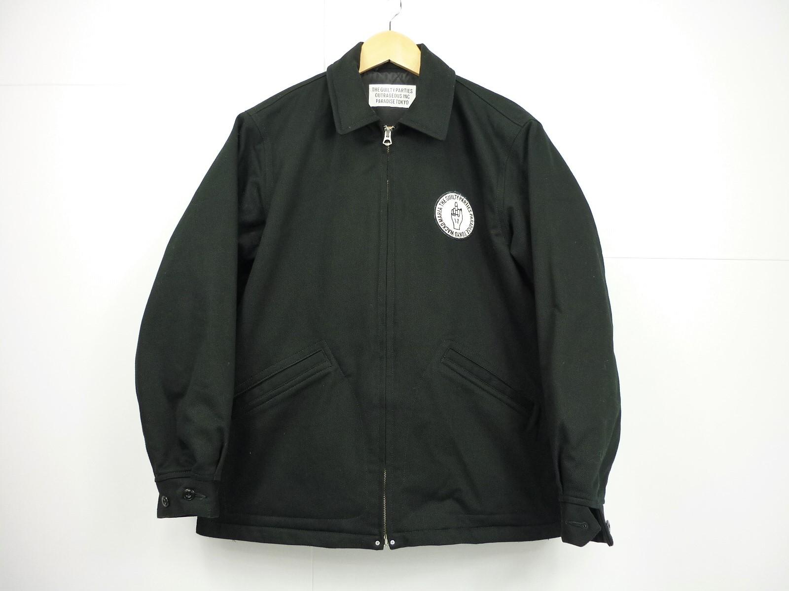 値下げしました WACKO MARIA キルティングワークジャケット size:S ワコマリア ブラック ワッペン