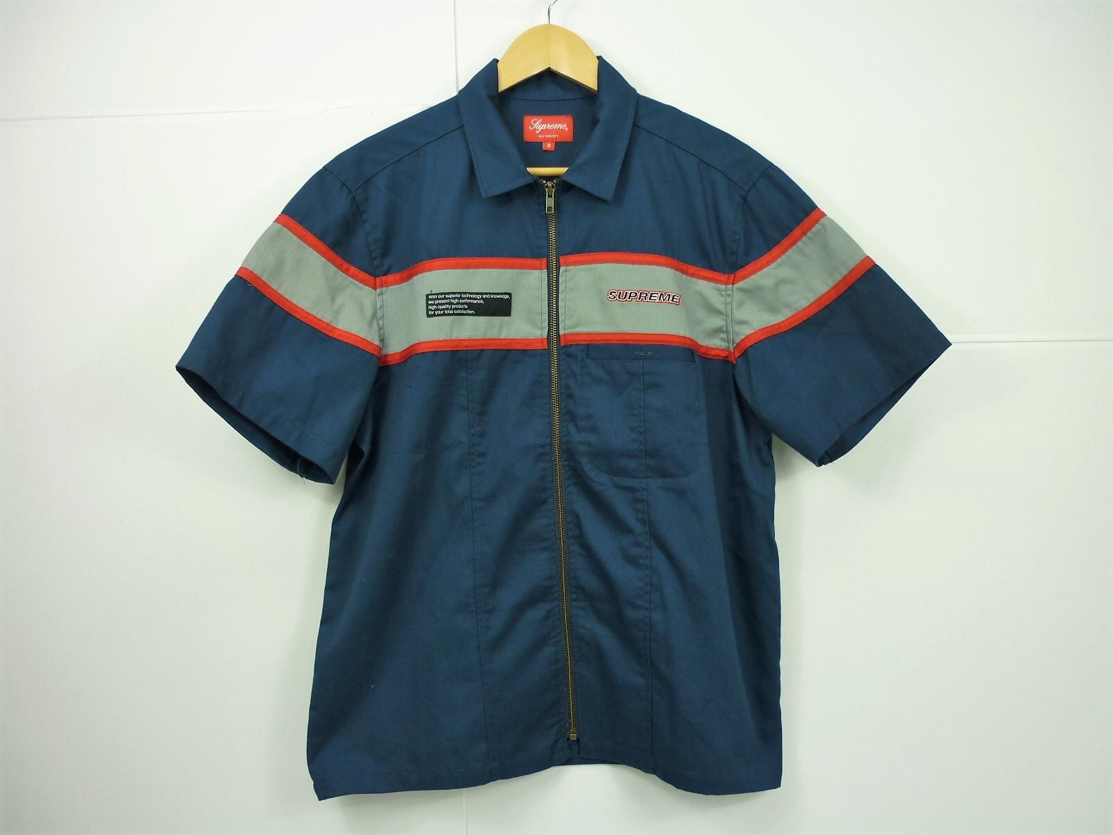 Supreme 17SS Zip up shirt size:S シュプリーム ワークシャツ 半袖