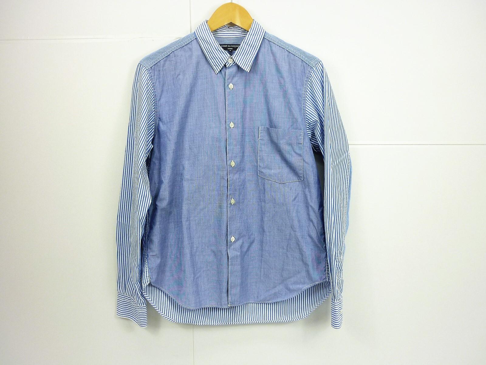 COMME des GARCONS HOMME マルチストライプパッチワークシャツ size:S コムデギャルソンオム ブルー ギンガムチェック