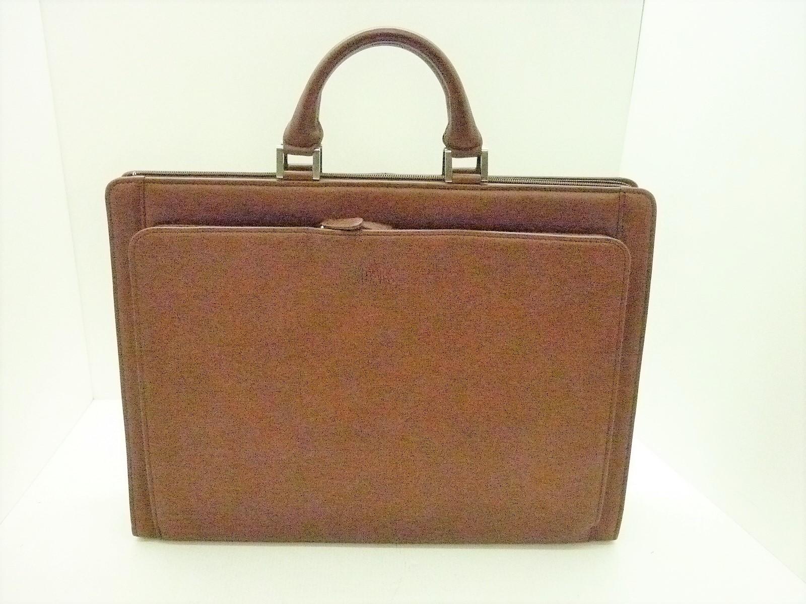 値下げしました DAKS LONDON レザーブリーフケース ブラウン ビジネスバッグ Made in Japan 箱あり