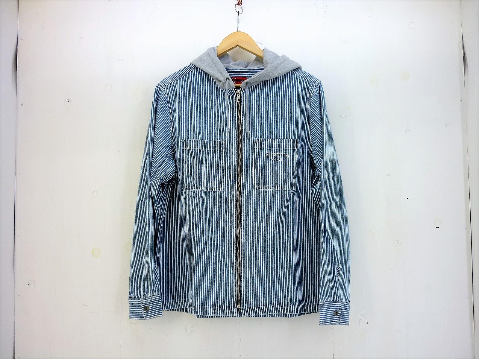 値下げしました Supreme 17AW ストライプフード付きシャツ size:M シュプリーム ヒッコリー