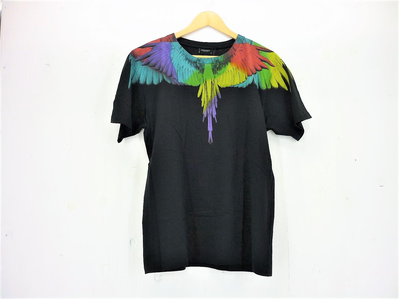 値下げしました MARCELO BURLON フェザープリント Tシャツ S/S size:XS マルセロバーロン タグ有 ブラック