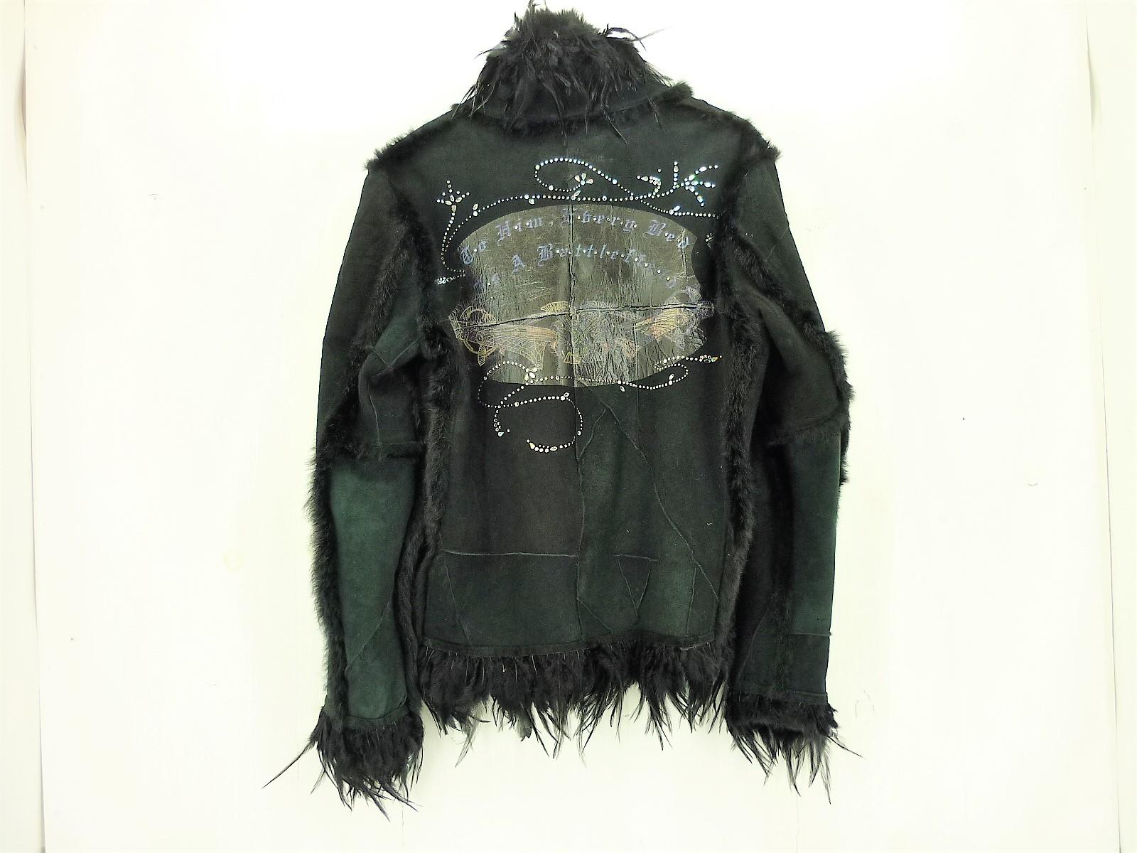 値下げしました kyoji maruyama ラビットファー レザージャケット size:3 キョウジ マルヤマ ブラック 羽 ラインストーン