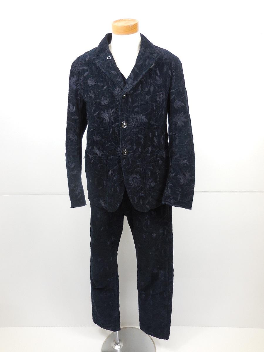 ENGINEERED GARMENTS 15AW フラワー刺繍 コーデュロイ 3ピーススーツ size:JKT・VEST(S)PANTS(30) エンジニアードガーメンツ ネイビー ひまわり ベッドフォッドジャケット