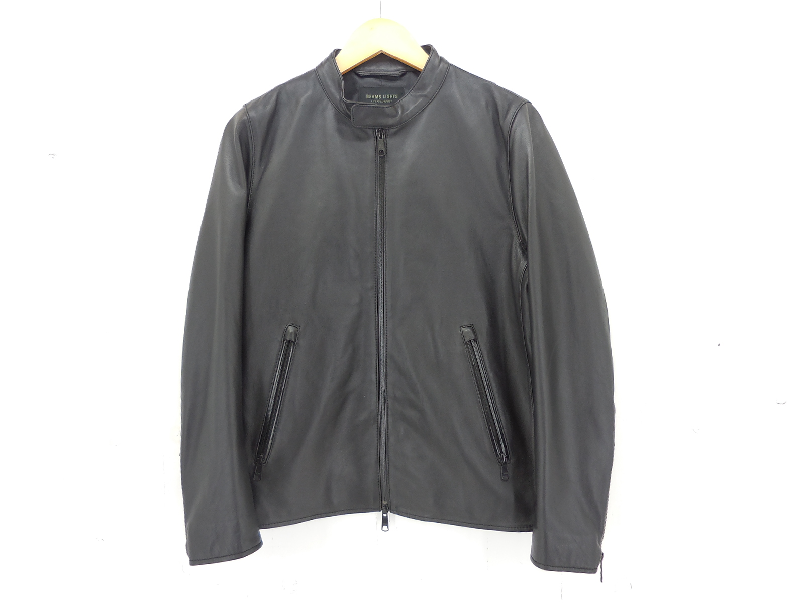 BEAMS LIGHTS 撥水レザー シングルライダースジャケット size:M ビームスライツ ブラック 羊革