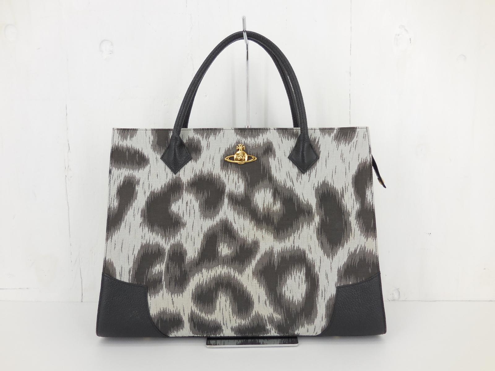 【値下げしました】Vivienne Westwood Leopard Business Bag ヴィヴィアンウエストウッド 豹柄 ヒョウ柄 ビジネスバッグ ブラック
