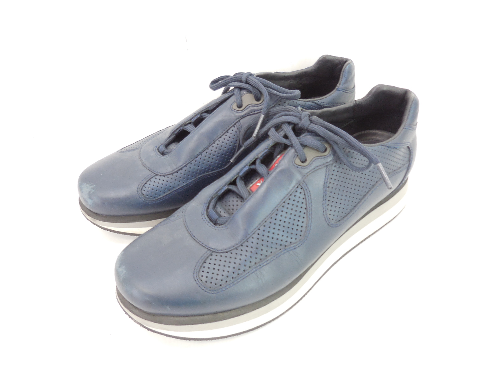 PRADA 2352 レザースニーカー size:9(JP約28cm) プラダ 靴 シューズ ネイビー JSB鑑定済み