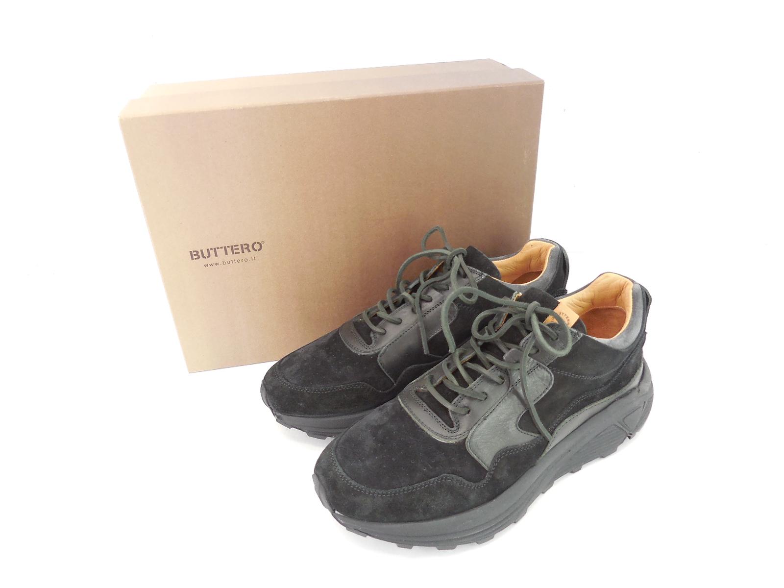 BUTTERO B7350 レザーダッドスニーカー size:41(JP27cm) ブッテロ PE-BOWH VIBRAM SOLE ビブラムソール 靴 シューズ ブラック