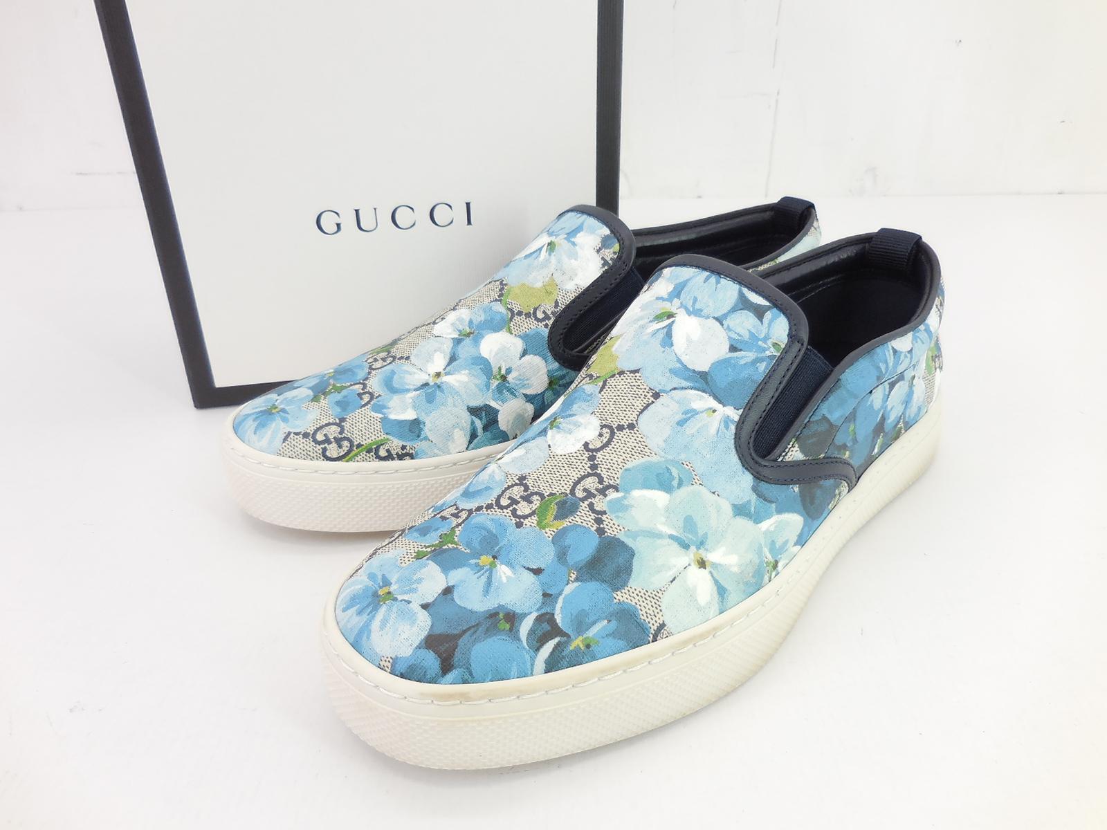 GUCCI 546152 フローラルスリッポン size:7.5(JP26.5cm) グッチ GGスプリーム スニーカー シューズ 靴 ブルー JSB鑑定済み