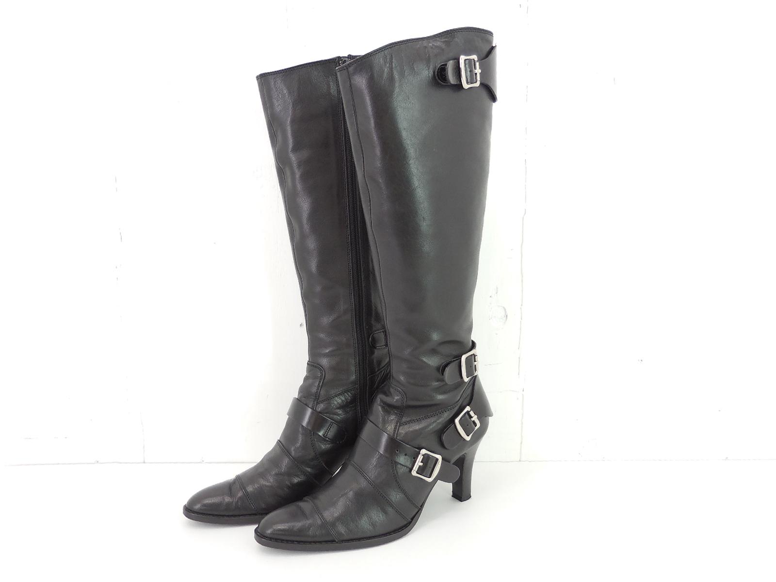 green LONG BOOTS size:38 グリーン ロングブーツ ヒール ブーツ ブラック HYKE