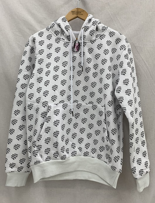 ASSC ANTI SOCIAL SOCIAL CLUBアンチソーシャルソーシャルクラブ 19SSALL OVER YOU WHITE HOODIEロゴ パーカー 未使用品 SIZE:S WHITE