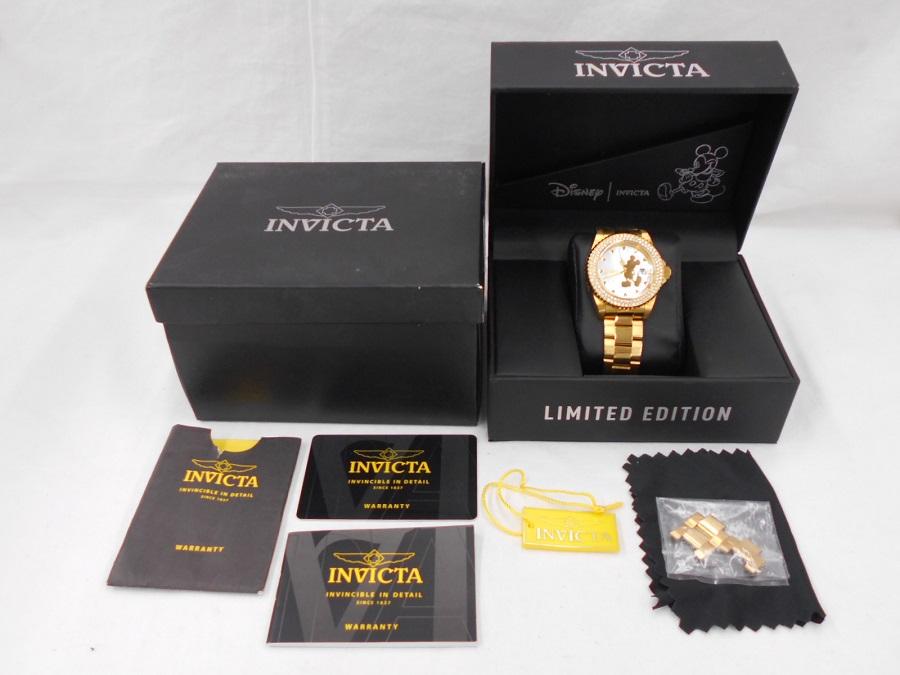 値下げしました! INVICTA インヴィクタ 腕時計 Disney ディズニー コラボ レディース ゴールド ミッキー ラインストーン シェル文字盤 Angel リミテッド 限定モデル