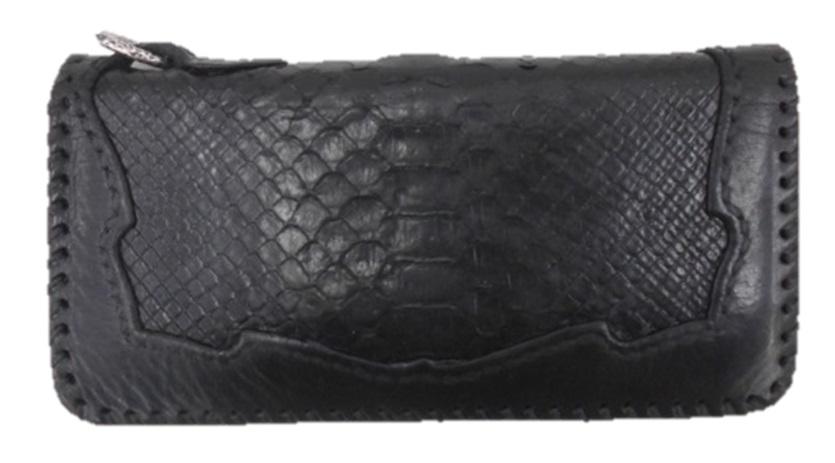 The Flat Head フラットヘッドレザー パイソン 二つ折長財布ブラック 黒 メンズ ロングウォレット