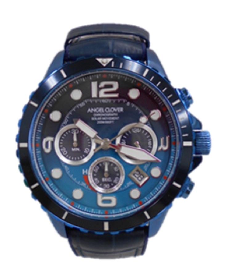 Angel Clover/エンジェルクローバーTCD45 メンズ 腕時計 美品 ブルー ソーラータイムクラフト ダイバー クロノグラフ