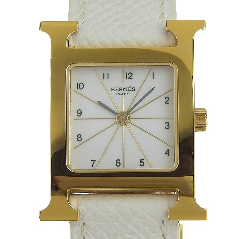 エルメス HERMES 金色 白色 腕時計 中古 Hウォッチ おすすめ特集 レディース クォーツ HE0468 SS 新入荷 ホワイト文字盤 L刻印 HH1.201 お値打ち価格で 革 2008年