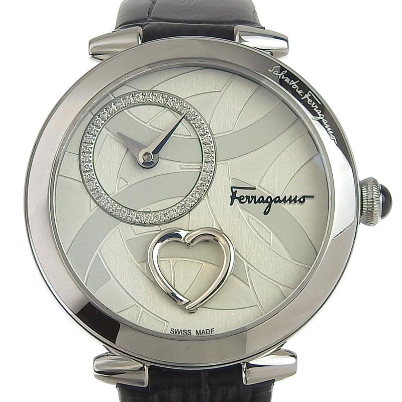 フェラガモ FERRAGAMO 銀色 黒色 腕時計 中古 クオーレ レディース OW0270 シルバー文字盤 新入荷 革 爆買いセール クォーツ SS 全国一律送料無料 FE2020016