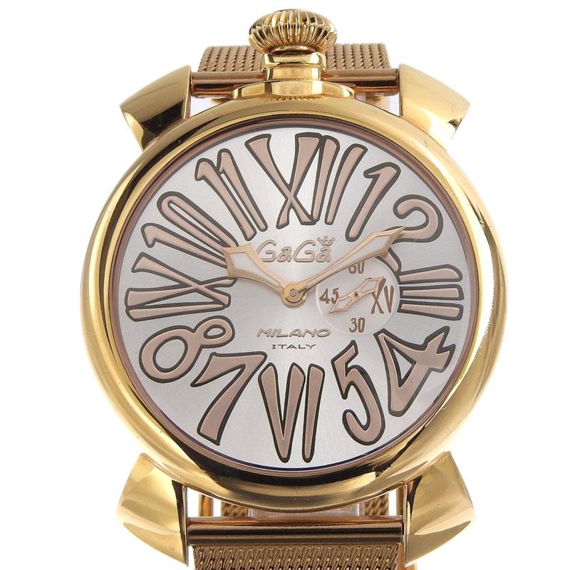 注文後の変更キャンセル返品 ガガミラノ GAGA MILANO 金色 銀色 腕時計 中古 引き出物 マヌアーレ シルバー文字盤 スリム46 新入荷 OW0277 GP クォーツ メンズ 5081.2