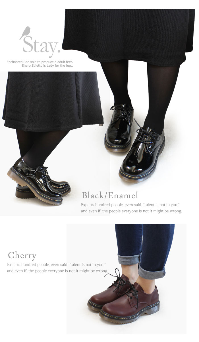 Volume sole race up mannish shoes bootie Lady's low heel black thickness bottom le-4420