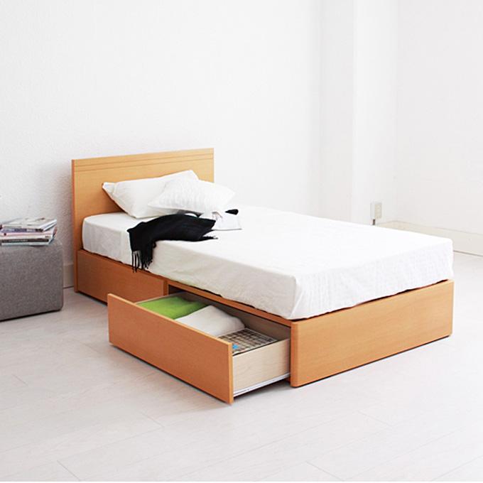 ★6時間限定 P10倍★ベッド シンプル シングルベッド引き出し付き ベッドフレーム Fネイビス