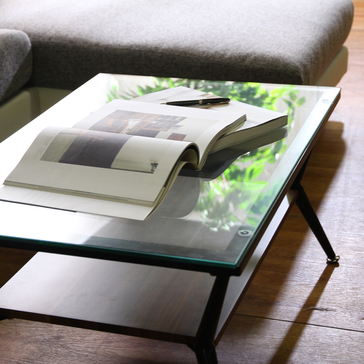 リビングテーブル 北欧 ローテーブル ガラス天板 強化ガラス 中棚付き 中棚商品名:ガラスリビングテーブル クレア【横幅120×奥行60サイズ】